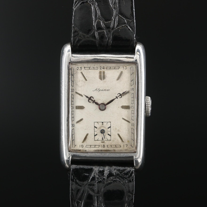 Vintage Alpina Sterling Silver Stem Wind Wristwatch
