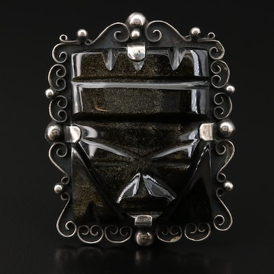 Mexican A Tobias Sterling Silver Sheen Obsidian Figural Brooch