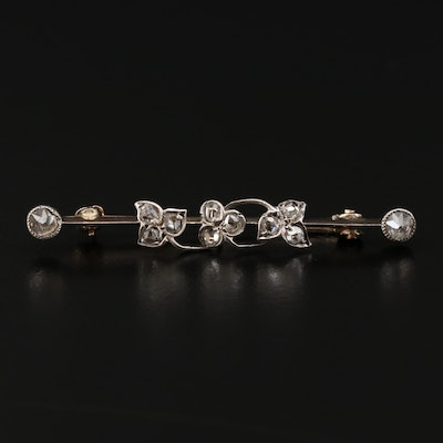 Early 1900s 14K Yellow Gold Diamond Bar Brooch with Sterling Silver Accents