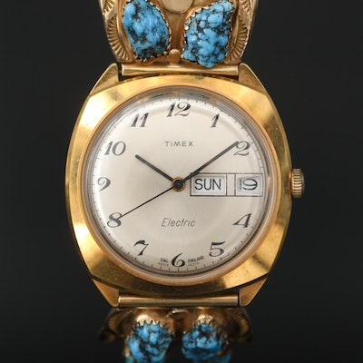Timex Electric Watch With 14K Gold and Turquoise Southwestern Style Bracelet