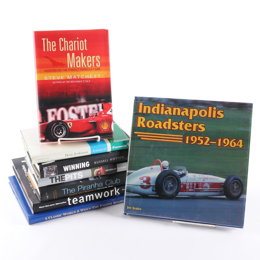 """Formula One Racing Books with First Edition """"Indianapolis Roadsters"""" and More"""