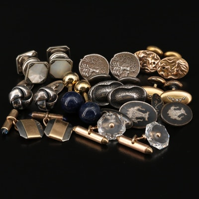 Cufflink Selection Featuring Sterling Silver, Sodalite and Niello