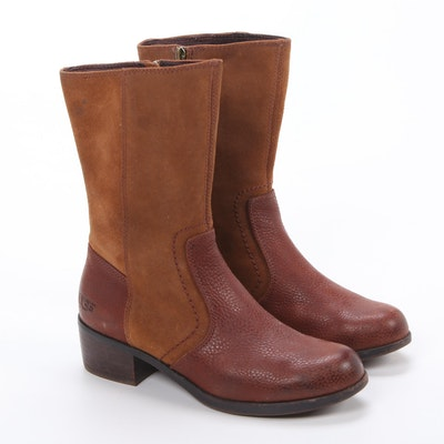 UGG Two-Tone Leather and Suede Zip Boots