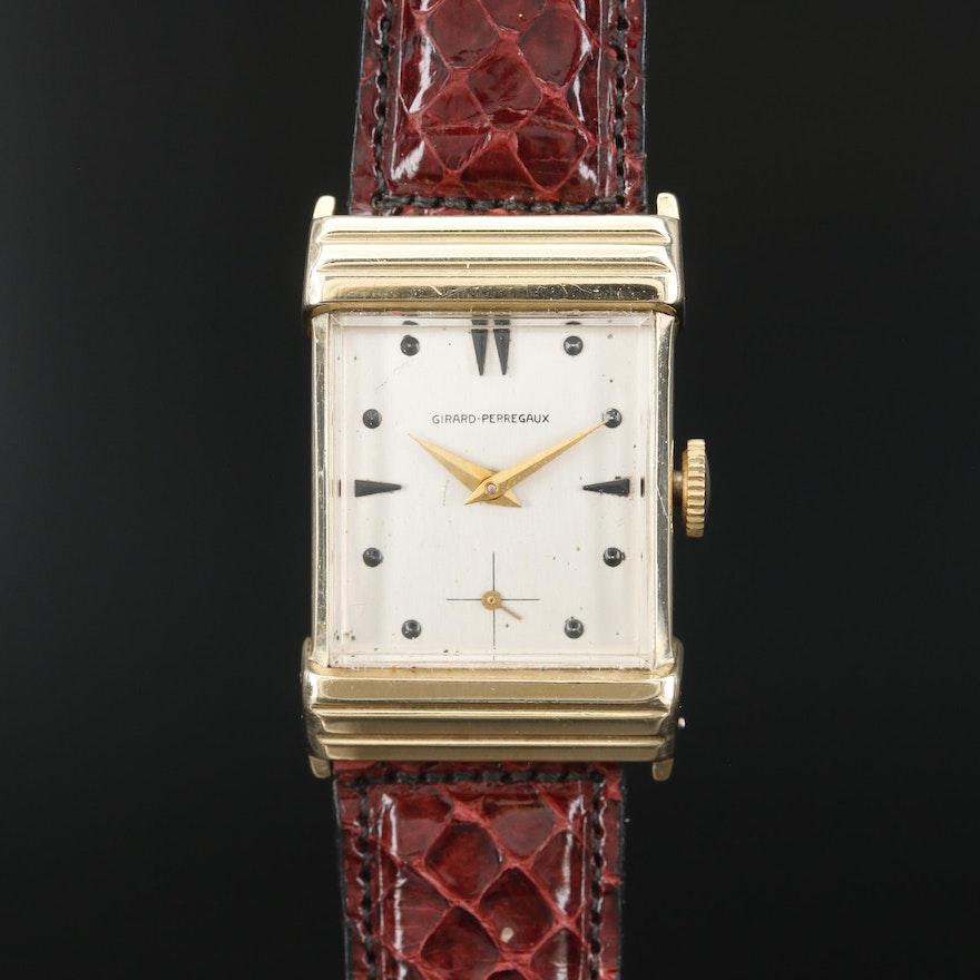 Girard-Perregaux 14K Gold Stem Wind Wristwatch, Vintage