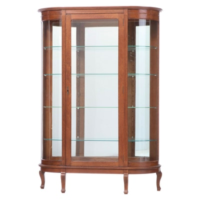 American Oak Curved Glass Display Cabinet, Late 19th/Early 20th Century