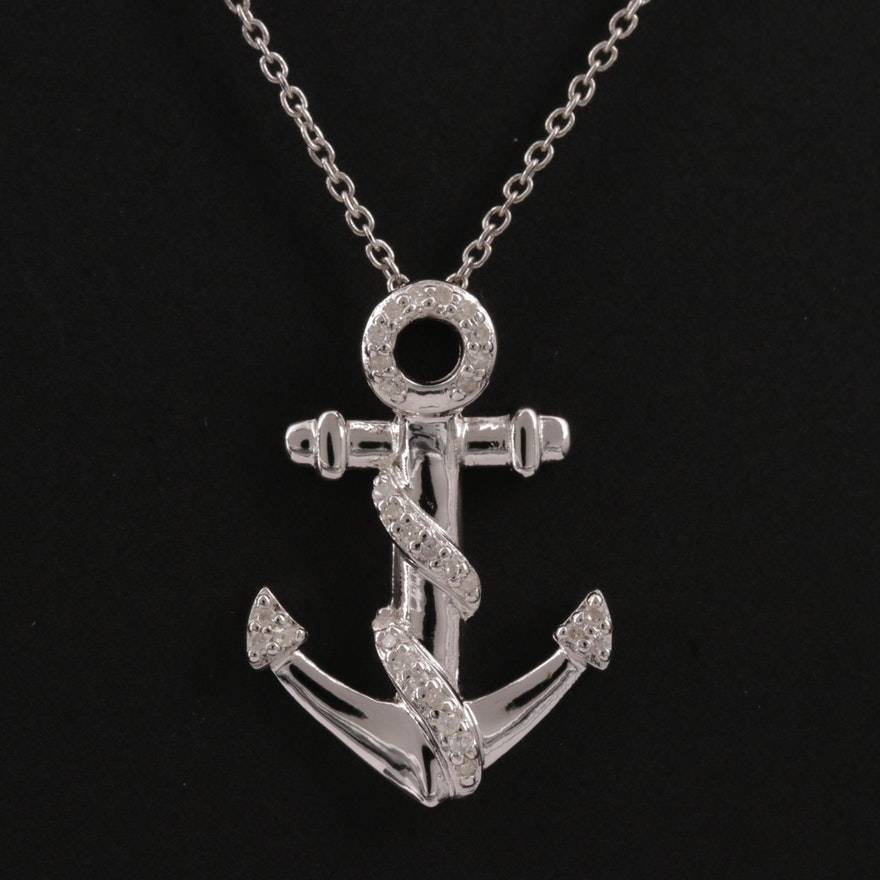Sterling Silver Diamond Anchor Pendant Necklace