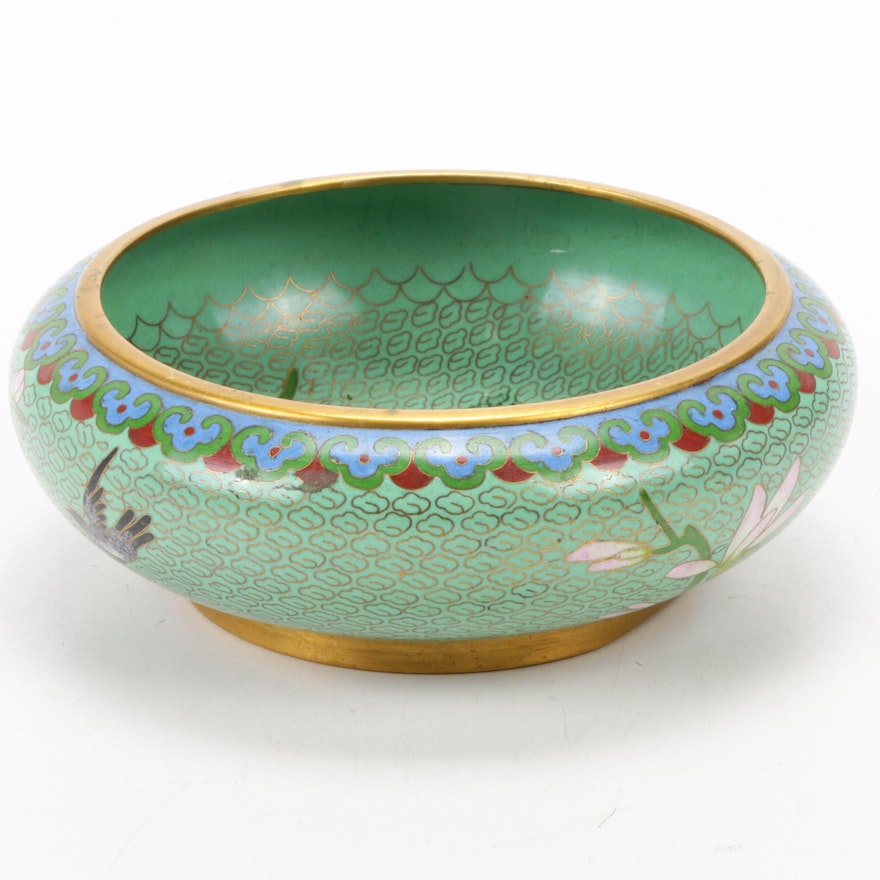 Chinese Floral and Bird Motif Cloisonné Bowl