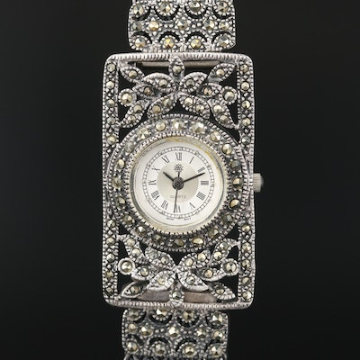 Criterion Sterling and 800 Silver Marcasite Quartz Wristwatch