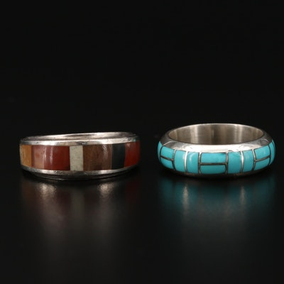 Sterling Silver Agate and Turquoise Rings Featuring Ted Tsadiasi Zuni