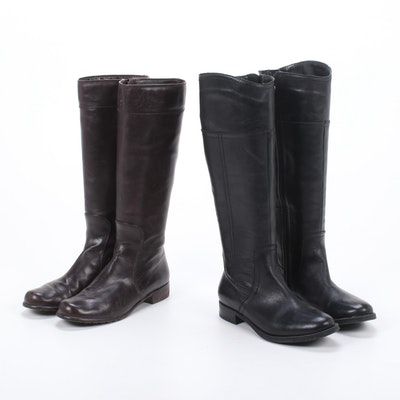 Stuart Weitzman and Audrey Brooke Leather Equestrian Style Knee-High Boots