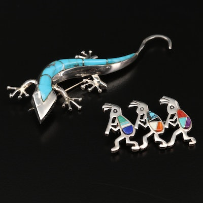 Southwestern Sterling Silver Kokopelli and Lizard Brooches