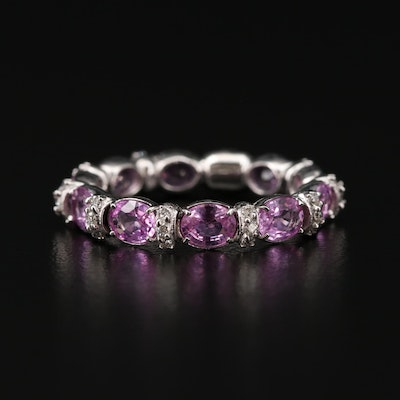 18K White Gold Sapphire and Diamond Eternity Ring