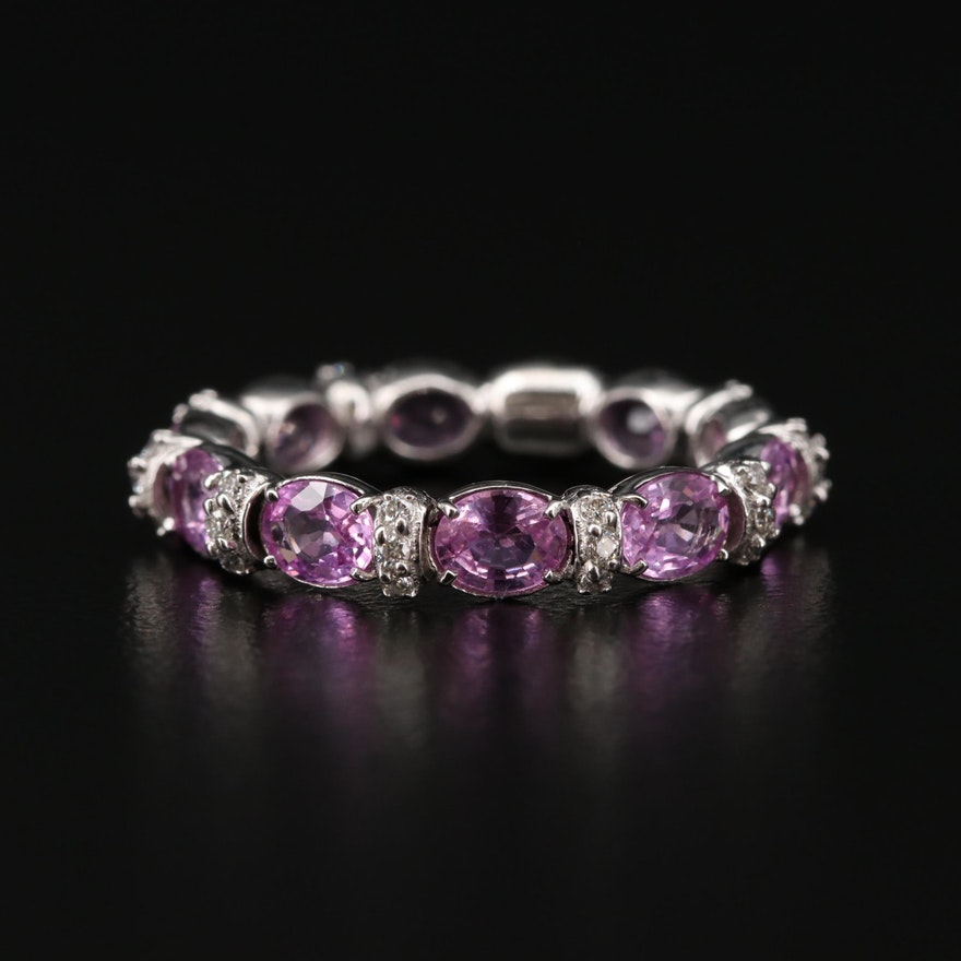 18K White Gold Sapphire and Diamond Eternity Ring