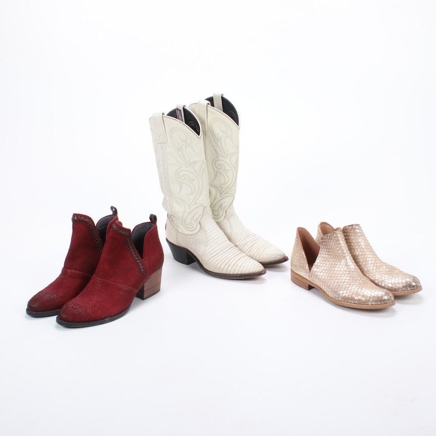 Sundance and OTBT Booties with Dan Post White Leather and Lizard Skin Boots