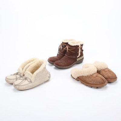 UGG Sheepskin Suede Slippers and Boots with Shearling Lining