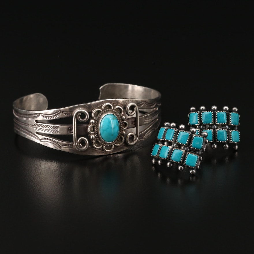 Southwestern Sterling Silver Turquoise and Imitation Stone Cuff and Earrings