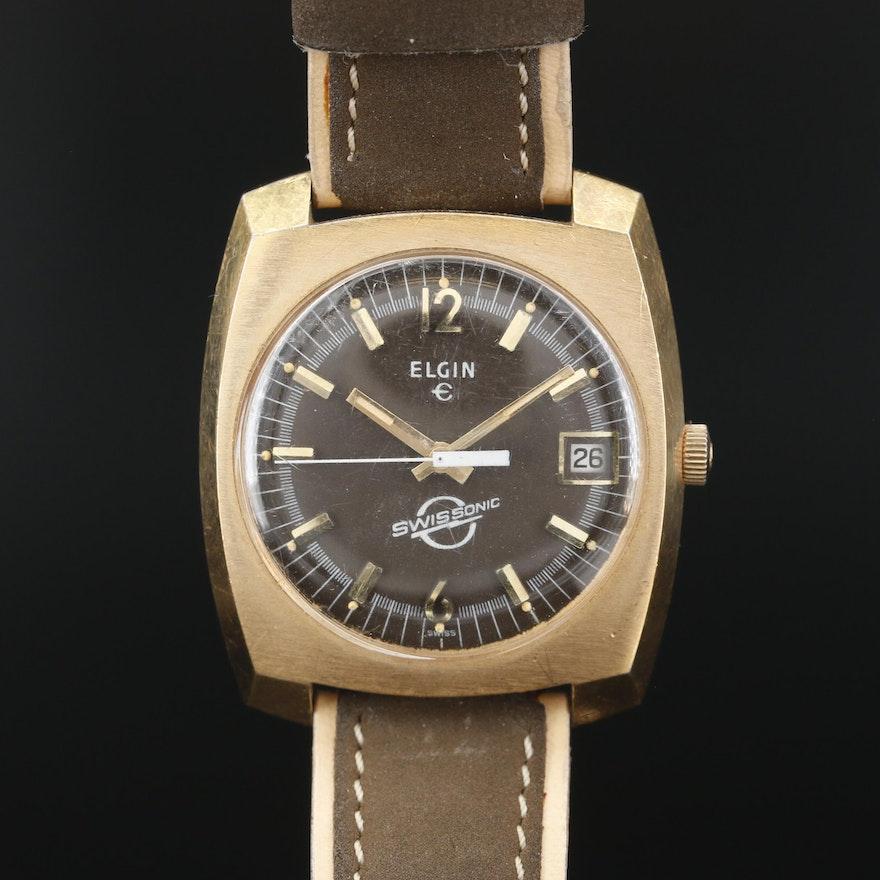 Elgin Swissonic With Date Wristwatch, Vintage