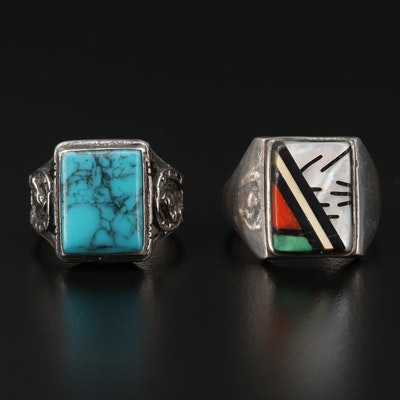 Southwestern Style Sterling Rings With Mother of Pearl, Turquoise, and Coral