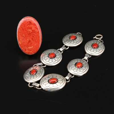 Southwestern Style Sterling Silver Coral Ring and Concho Bracelet