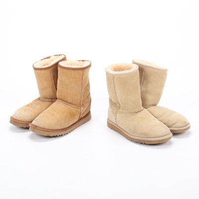 UGG Australia Sheepskin Suede Boots with Shearling Linings
