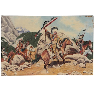 Western Genre Oil Painting After Frank McCarthy, Late 20th Century