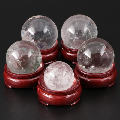 Quartz Rock Crystal Spheres with Wooden Display Stands