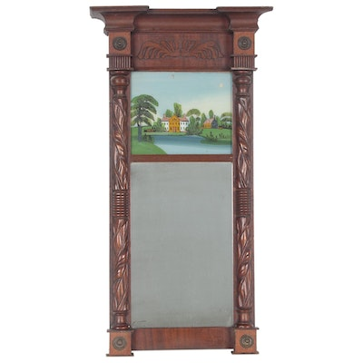 Split-Baluster Trumeau Mirror with Reverse Painted Panel, 19th Century