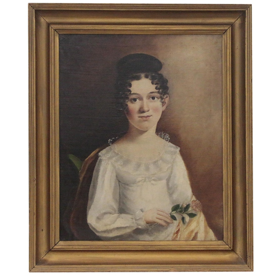 Folk Style Portrait of a Girl, Early to Mid 19th Century