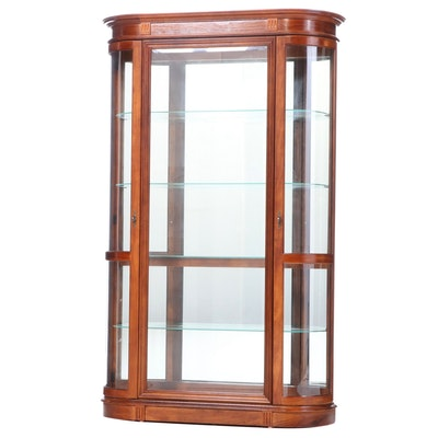 Pulaski Furniture Stained Hardwood and Curved Glass Display Cabinet