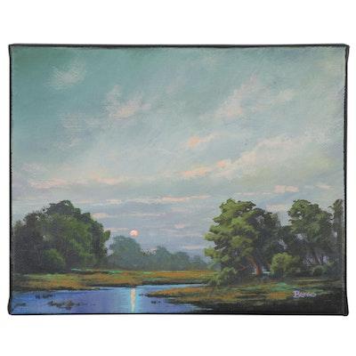 "Douglas ""Bumo"" Johnpeer Oil Painting ""Oak Creek"", 2020"