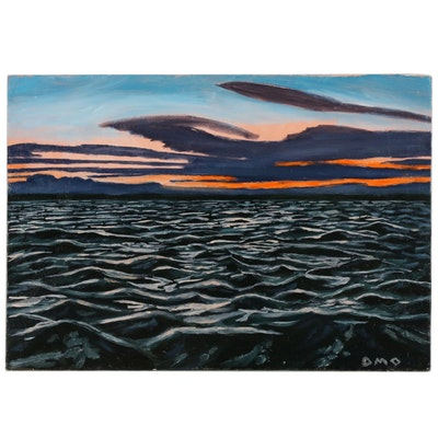 """Darryl Oberling Seascape Oil Painting """"Ocean Waves"""", 2018"""
