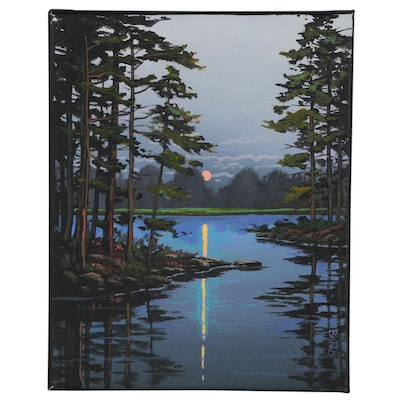"Douglas ""Bumo"" Johnpeer Oil Painting ""Pine Reflections"", 2020"
