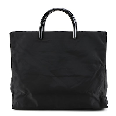 Prada Black Tessuto Nylon Structured Tote with Resin Handles