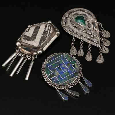 Sterling Converter Brooches Featuring Bisbee Bob, Zebra Stone and Eilat Stone