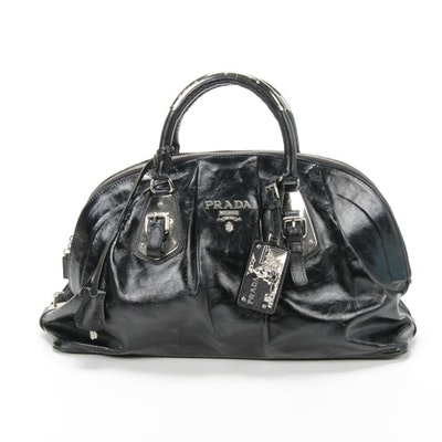 Prada Black Leather Zip Satchel with Saffiano Leather Accents