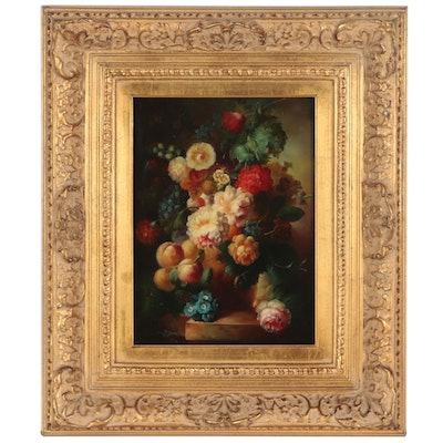 Dutch Style Floral Still Life Oil Painting, 20th Century