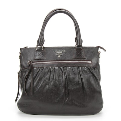 Prada Dark Brown Pleated Daino Leather Zip Handbag