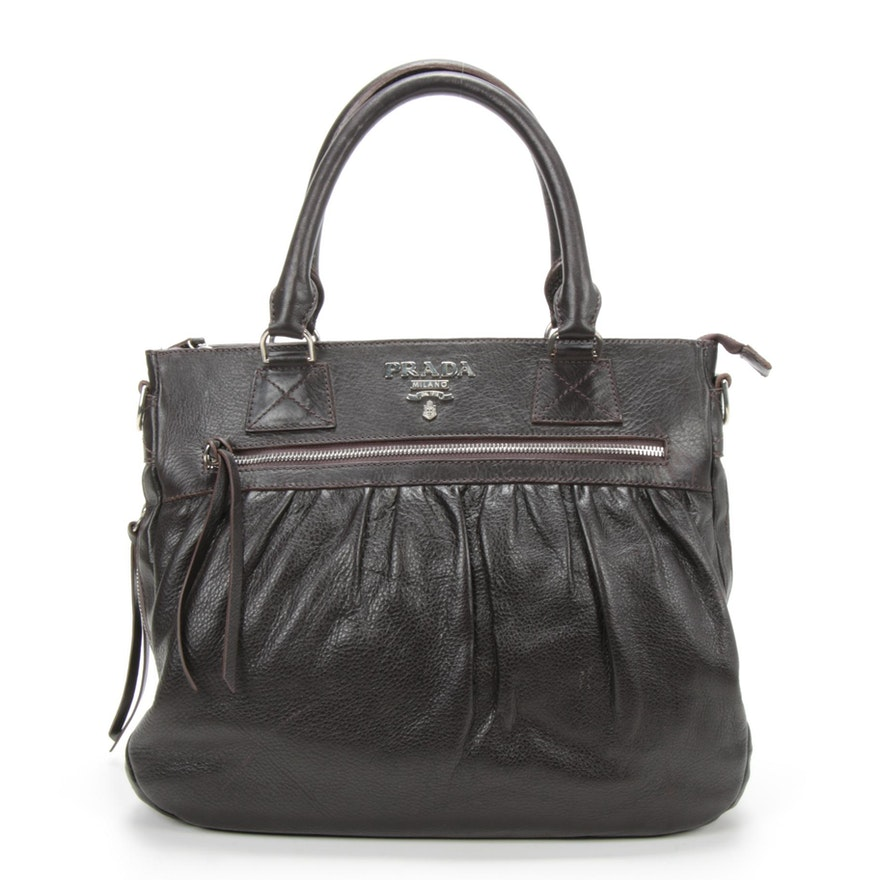 Prada Dark Brown Pleated Daino Leather Zip Handbag