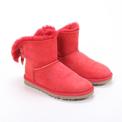 UGG Bailey Red Sheepskin Suede and Shearling Ankle Boots with Bow Detail