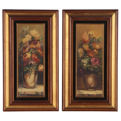 Decorative Floral Still Life Oil Paintings, Mid to Late 20th Century