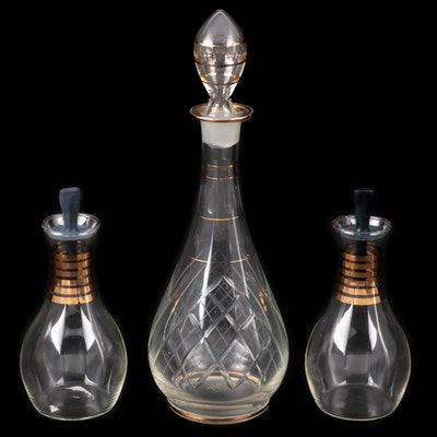 Mid Century Modern Cut Glass Decanter with Glass Oil and Vinegar Cruets