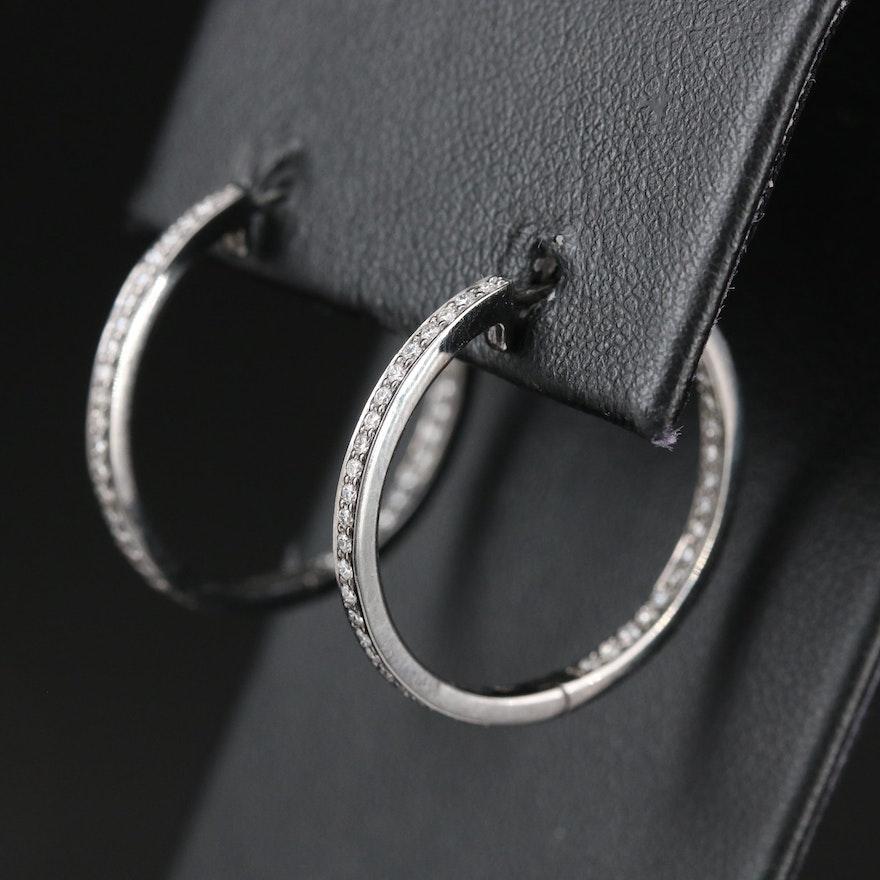 14K Gold Diamond Inside Out Hoop Earrings