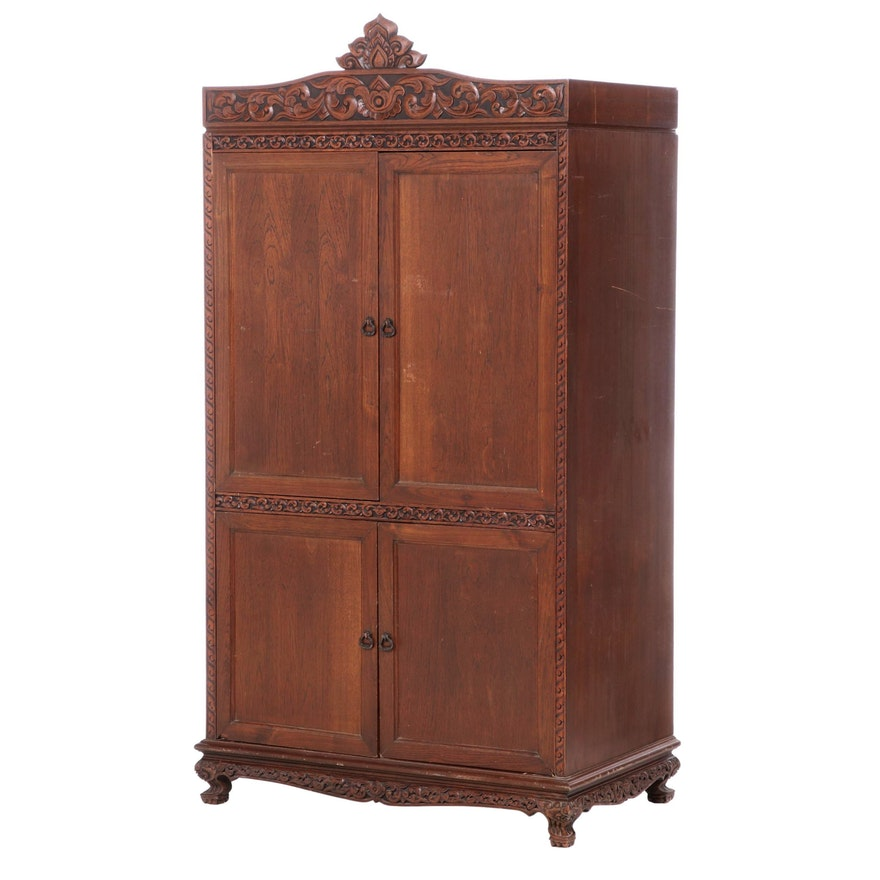 Carved Oak Wardrobe, Mid 20th Century