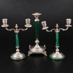 Malachite and 800 Silver Candelabra and Candlestick