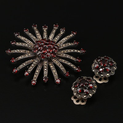 Vintage Sterling Silver Garnet and Marcasite Brooch and Button Earrings