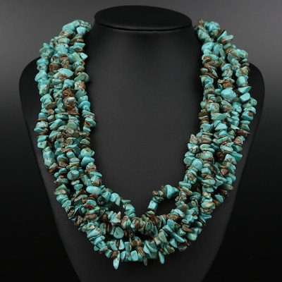 Multi Strand Turquoise and Magnesite Beaded Necklace