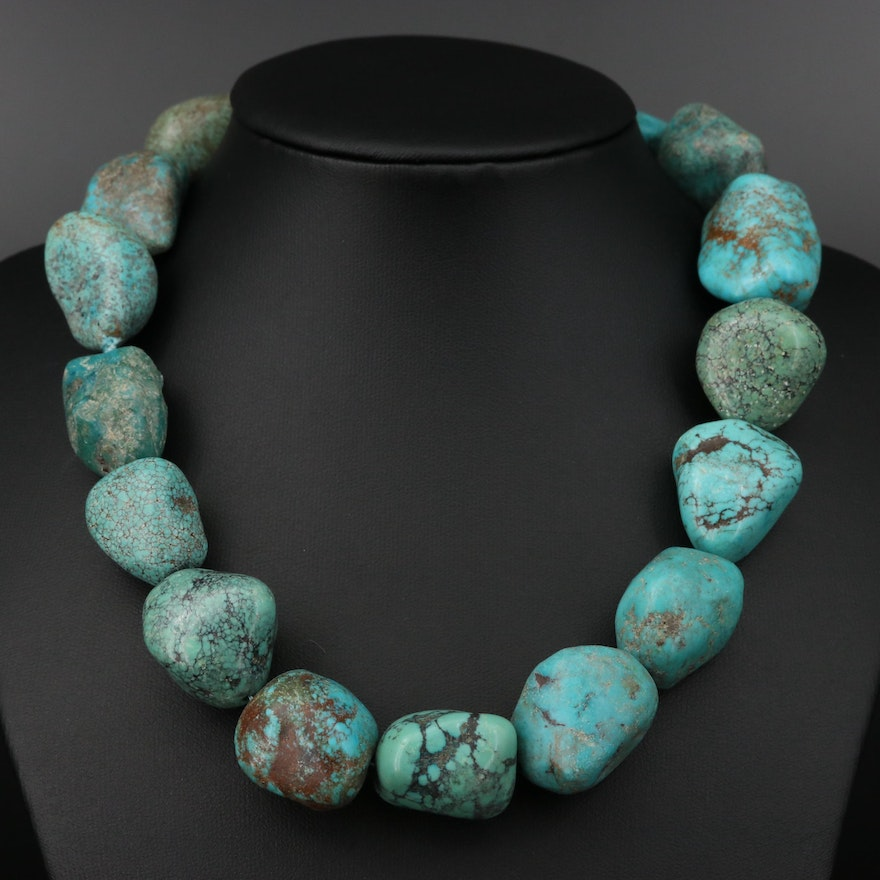 Tumbled Turquoise Neckllace with Sterling Clasp