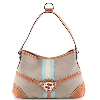 Gucci Reins Canvas and Leather Web Stripe Shoulder Bag