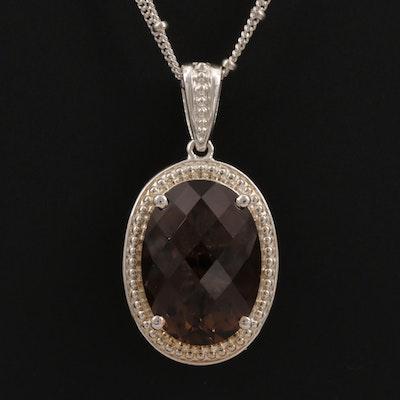 Sterling Silver Smoky Quartz and Diamond Reversible Pendant Necklace