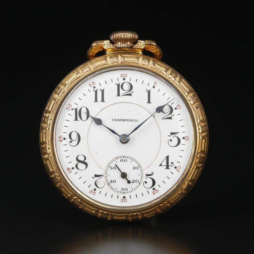 1916 Hampden 10K Gold Filled Open Face Pocket Watch